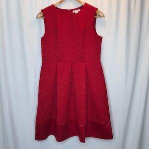 Liz Claiborne Red A-Line Texture Floral Dress